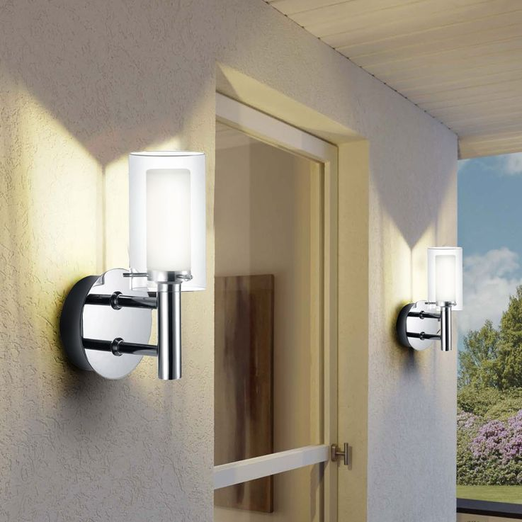 Outdoor Lighting Wall lamp Spotlight glass satin white clear lamp 88193 Eglo – Bild 7