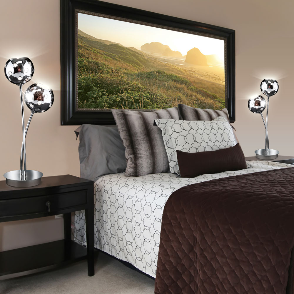 tischlampe empire aus chrom und borosilikatglas mit. Black Bedroom Furniture Sets. Home Design Ideas