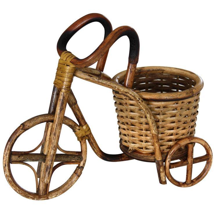 Rattan flower pot Flower Tub planter basket wheelbarrow Flower Pots decorative tricycle BHP 26 variant – Bild 6