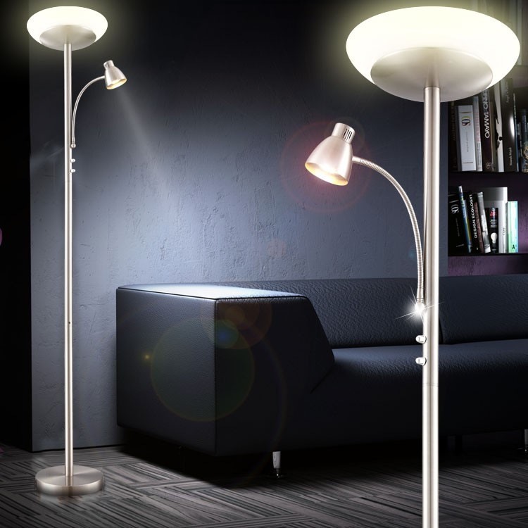 led designer decken fluter lese lampe steh stand beleuchtung wohnzimmer licht ebay. Black Bedroom Furniture Sets. Home Design Ideas