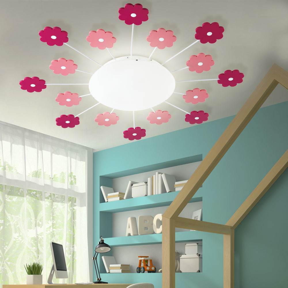 Details About Flowers Ceiling Lamp Pink Playroom Lighting Children Wall Gl New
