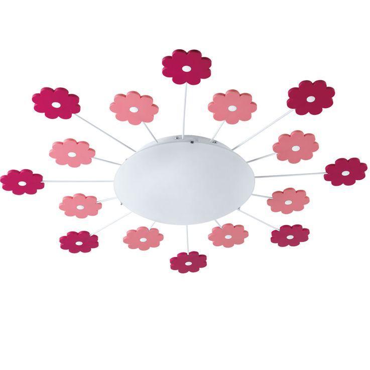 Wand Lampe Mädchen Spiel Zimmer Beleuchtung Blumen Kinder Decken Leuchte rosa pink  Eglo1 92147 – Bild 1