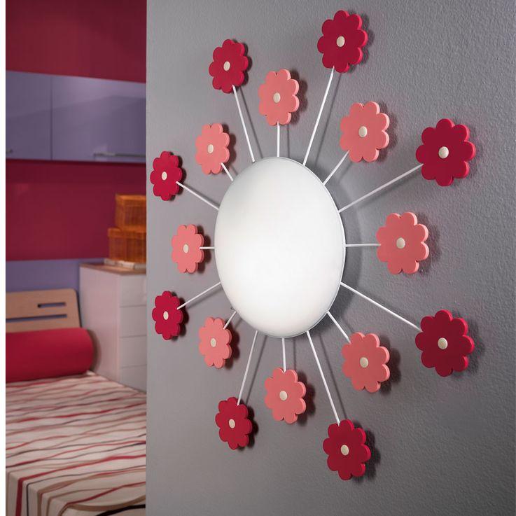 Wand Lampe Mädchen Spiel Zimmer Beleuchtung Blumen Kinder Decken Leuchte rosa pink  Eglo1 92147 – Bild 3