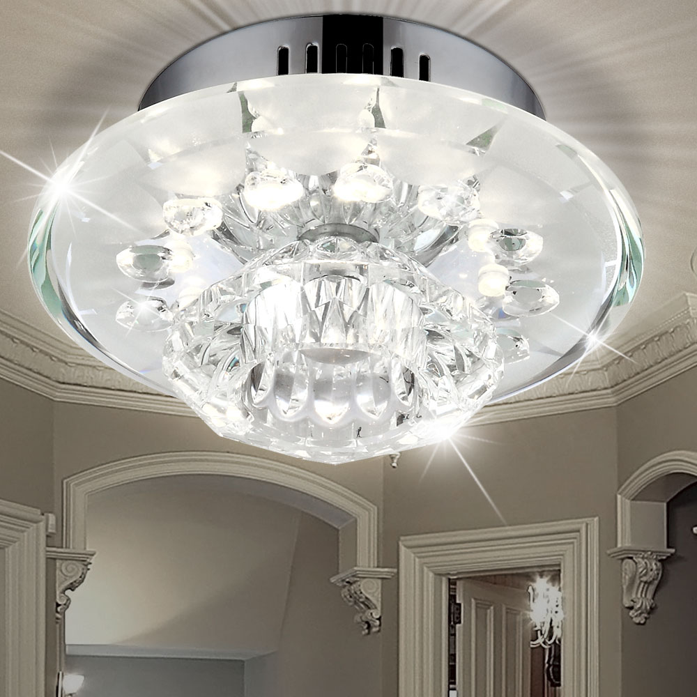 Contemporary Ceiling Lamp With Chrome Glass And Clear Glass Decor Meinelampe