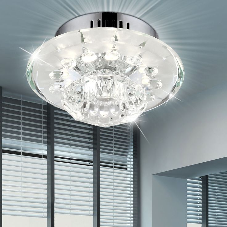 Contemporary ceiling lamp with chrome, glass and clear glass decor – Bild 3