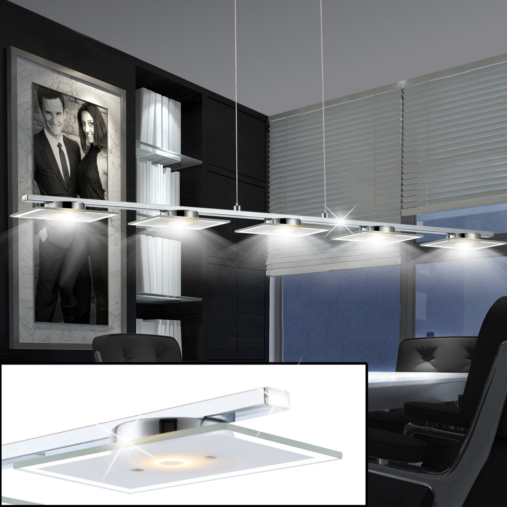 6 Watt LED Luxus Büro Hänge Pendel Decken Leuchte Glas satiniert Big Light