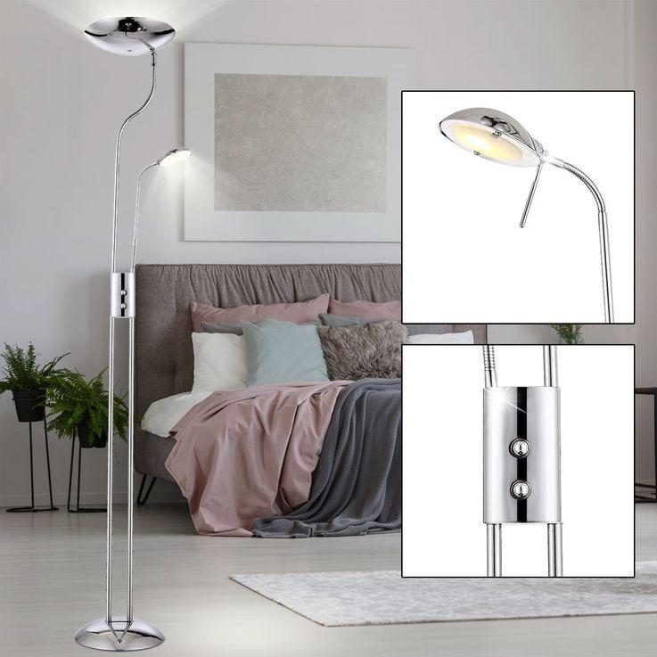 Klassischer LED Deckenfluter mit Leselampe im Chrom Design – Bild 2