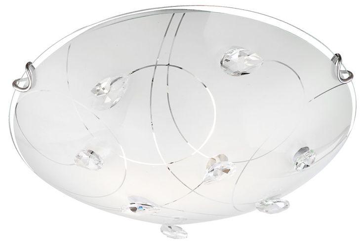 Plafonnier cristaux luminaire éclairage verre opale nickel mat salle de séjour Globo 40414-2 – Bild 1