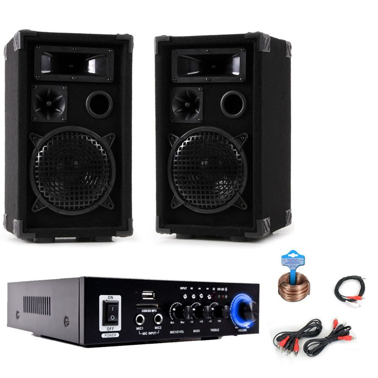 PA party compact stereo speakers amplifier Bluetooth USB SD MP3 DJ-Compact 3 – Bild 1