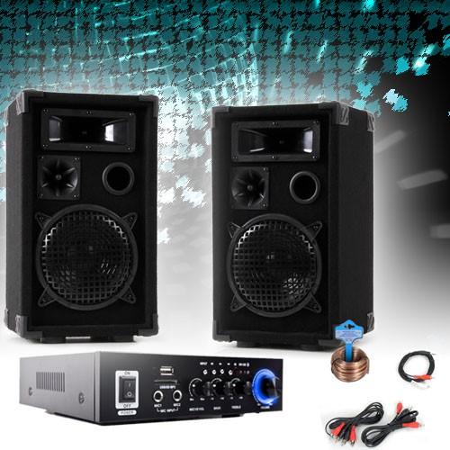 PA party compact stereo speakers amplifier Bluetooth USB SD MP3 DJ-Compact 3 – Bild 2