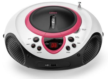 Tragbarer CD-Player MP3 USB Radio Kinder Mädchen Stereoanlage Tuner AUX LED + Tiermotiv Sticker – Bild 3