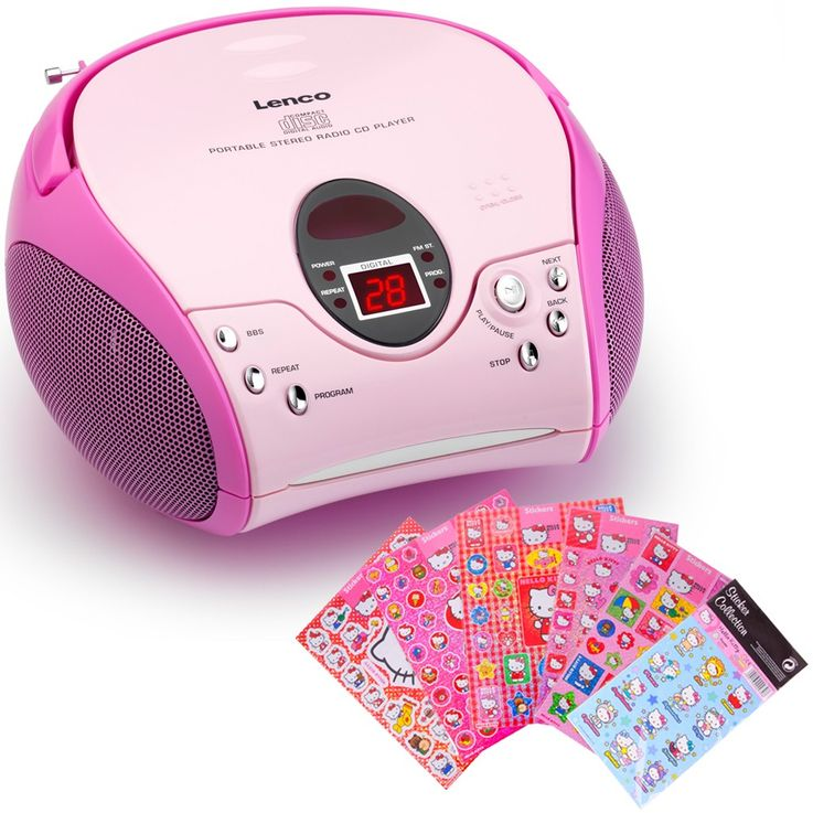 Lecteur laser CD portable filles chaîne hi-fi MP3 radio Hello Kitty autocollants – Bild 1