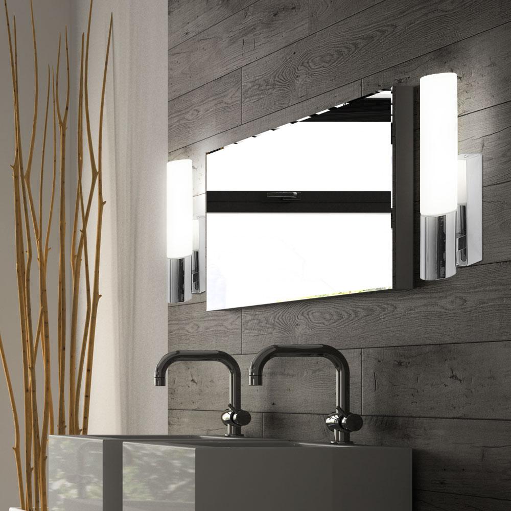 badezimmer wand strahler metall verchromt glas opal satiniert leuchte lampe ip44 ebay. Black Bedroom Furniture Sets. Home Design Ideas