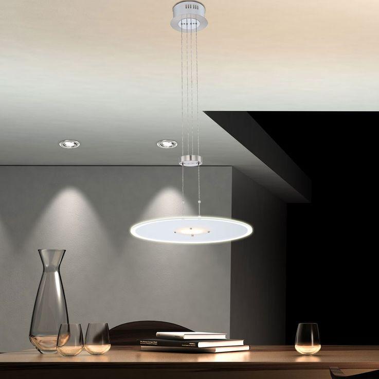 Suspension DEL 18 watt luminaire plafond lampe lustre chrome réglable en hauteur – Bild 3