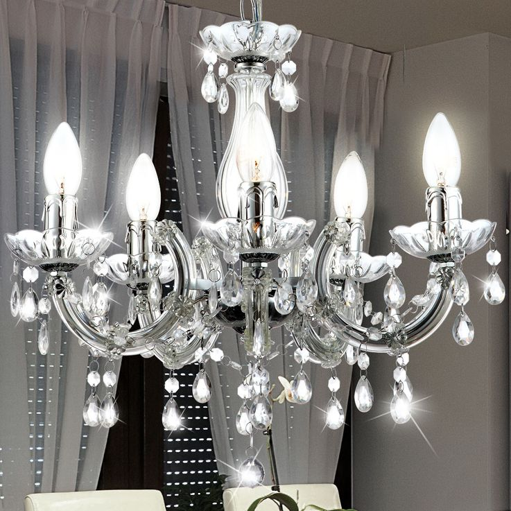 Pendant light hanging lamp chandelier ceiling lighting interior lighting lamp clear Globo 63116-5 – Bild 4