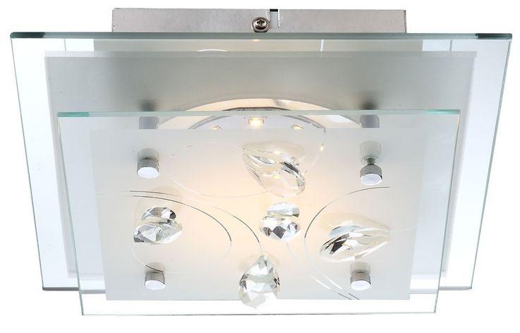LED Deckenlampe mit satiniertem Glas und Kristallen JASMINA – Bild 1
