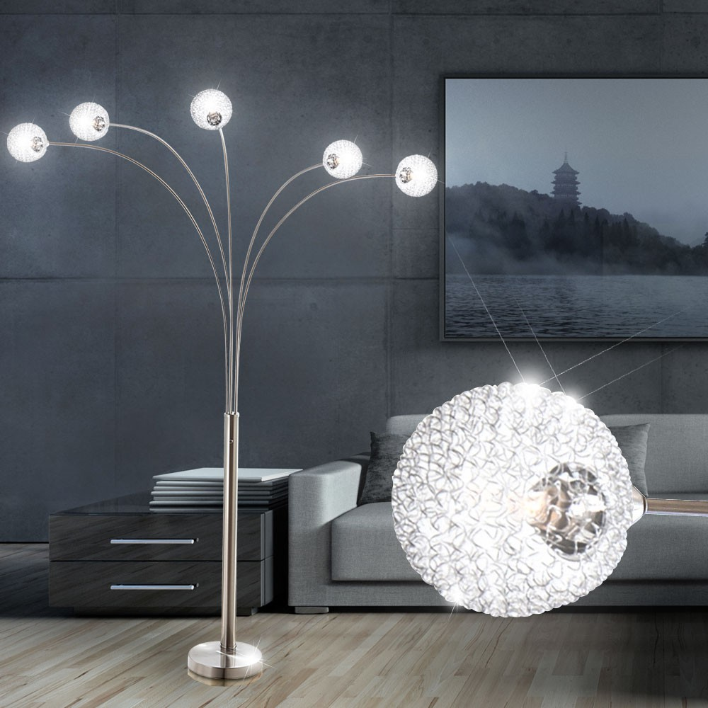 Dimmbare 5-armige Stehlampe aus mattem Nickel CLASSIC STYLE Lampen ...