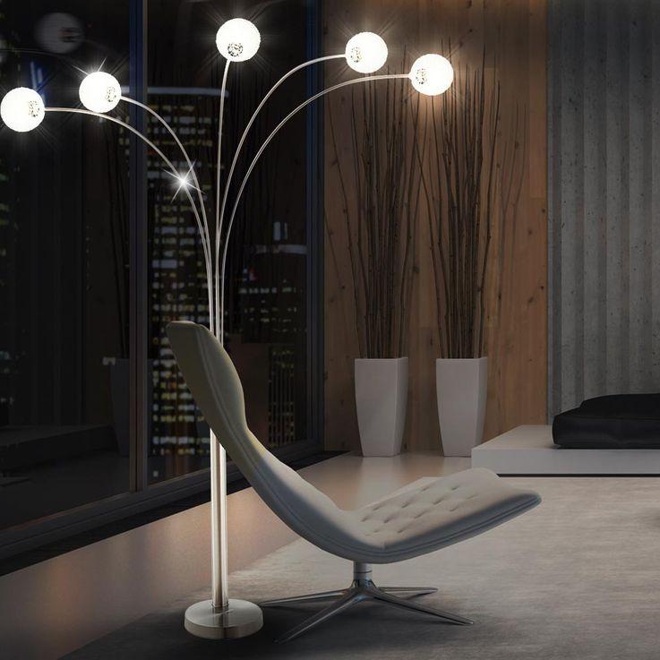 Dimmbare 5-armige Stehlampe aus mattem Nickel CLASSIC STYLE – Bild 4