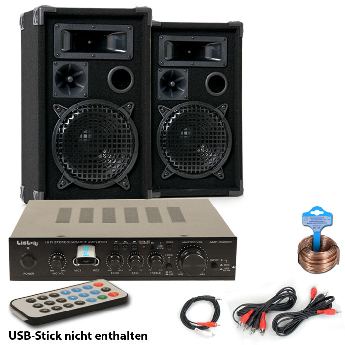 partyanlage mit boxen bluetooth mp3 usb verst rker dj party audio technik dj equipment. Black Bedroom Furniture Sets. Home Design Ideas