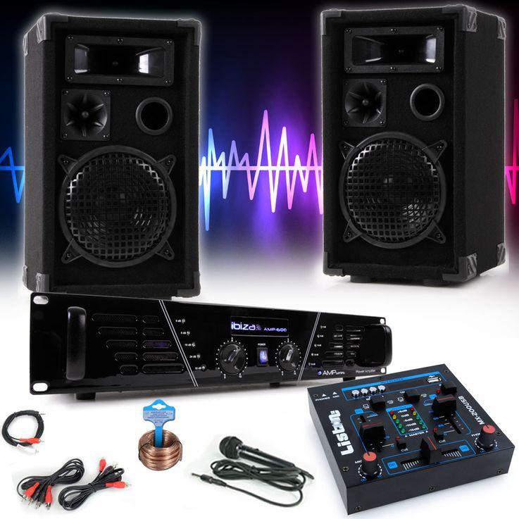 PA Karaoke Musik Anlage Verstärker Boxen USB MP3 Mixer Mikrofon Kabelset DJ-Party 2 – Bild 2