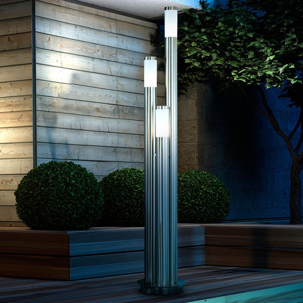 IP44 LED 18 W Außen Beleuchtung Balkon Terrasse Steh Lampe Edelstahl ...