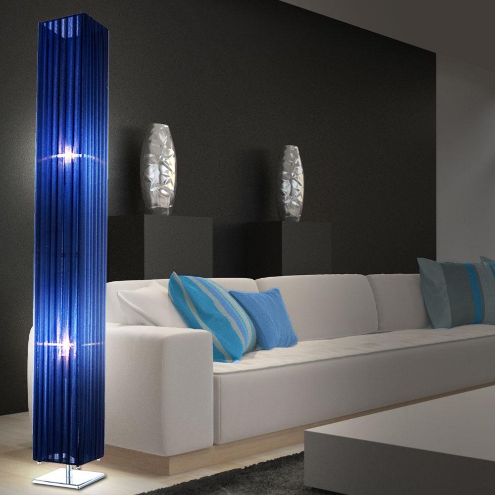 lampadaire abat jour luminaire bleu fonc mousseline. Black Bedroom Furniture Sets. Home Design Ideas