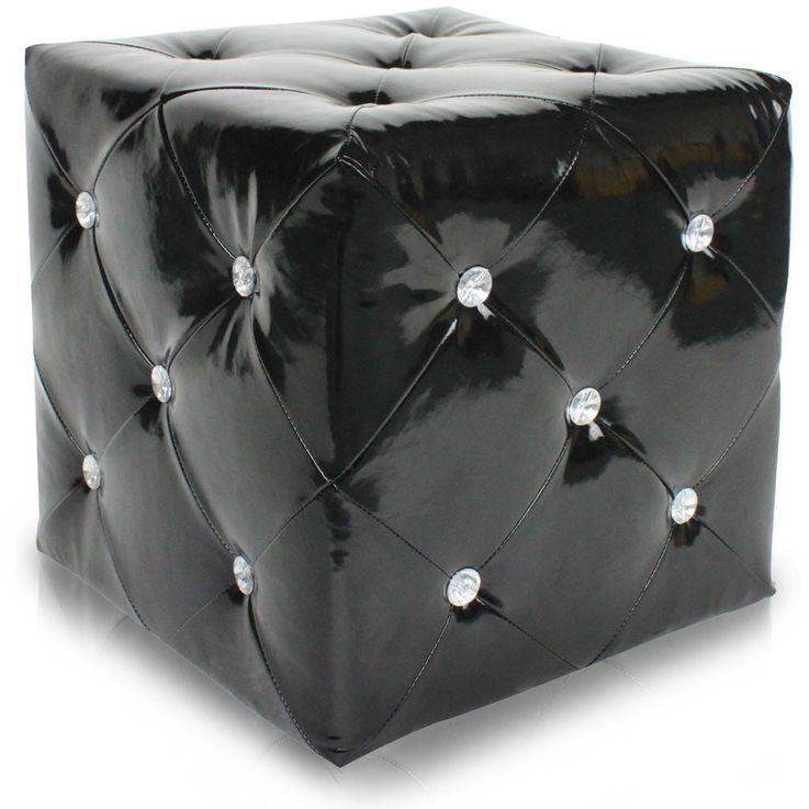 Hocker glänzend Sitzgelegenheit Kunstleder schwarz Strasssteine Sitzhocker Stuhl BHP B413018-4 – Bild 1