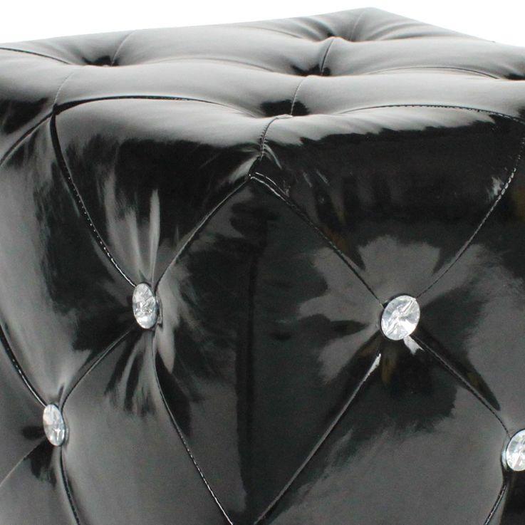 Hocker glänzend Sitzgelegenheit Kunstleder schwarz Strasssteine Sitzhocker Stuhl BHP B413018-4 – Bild 5