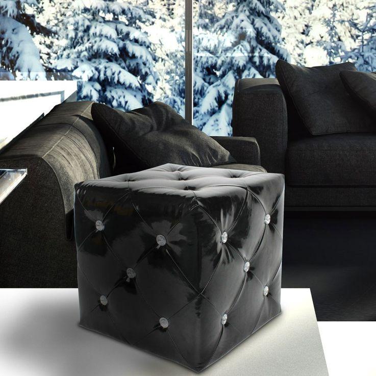 Hocker glänzend Sitzgelegenheit Kunstleder schwarz Strasssteine Sitzhocker Stuhl BHP B413018-4 – Bild 4