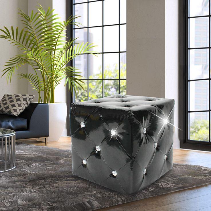 Hocker glänzend Sitzgelegenheit Kunstleder schwarz Strasssteine Sitzhocker Stuhl BHP B413018-4 – Bild 2