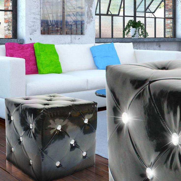 Tabouret siège art cuir noir strass tabouret chaise BHP B413018-4 – Bild 3