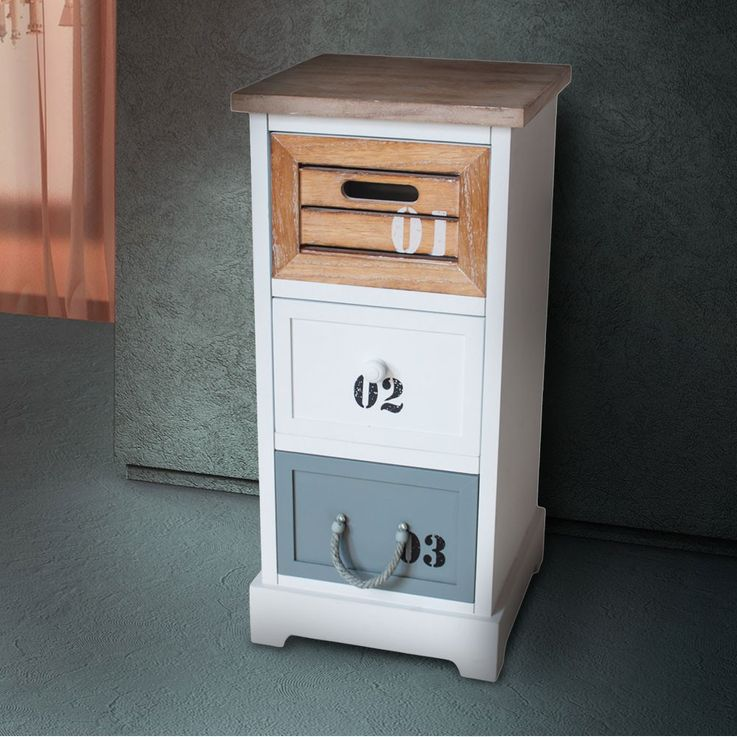 Chest of drawers 3 drawers MDF white with brown and gray lettering furniture BHP B421374 Digit – Bild 3