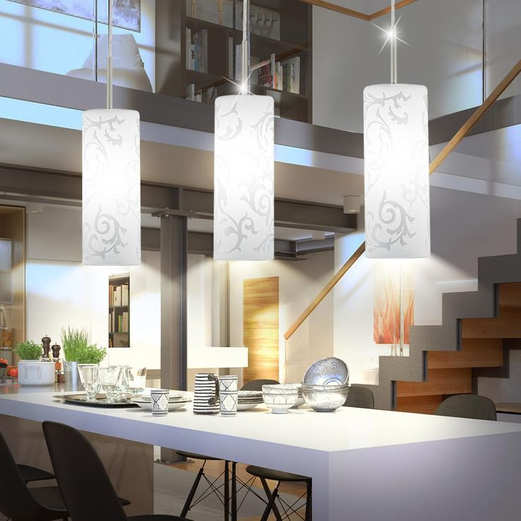 Hanging lamp living dining room glass ceiling pendulum lamp white printed 3 -flamed Eglo 90048 – Bild 3
