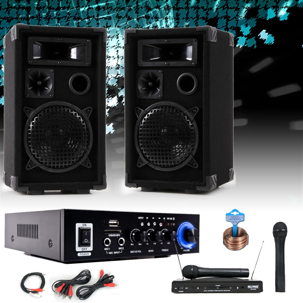 karaoke pa musik anlage boxen bluetooth verst rker usb mp3 funk mikrofon system ebay. Black Bedroom Furniture Sets. Home Design Ideas