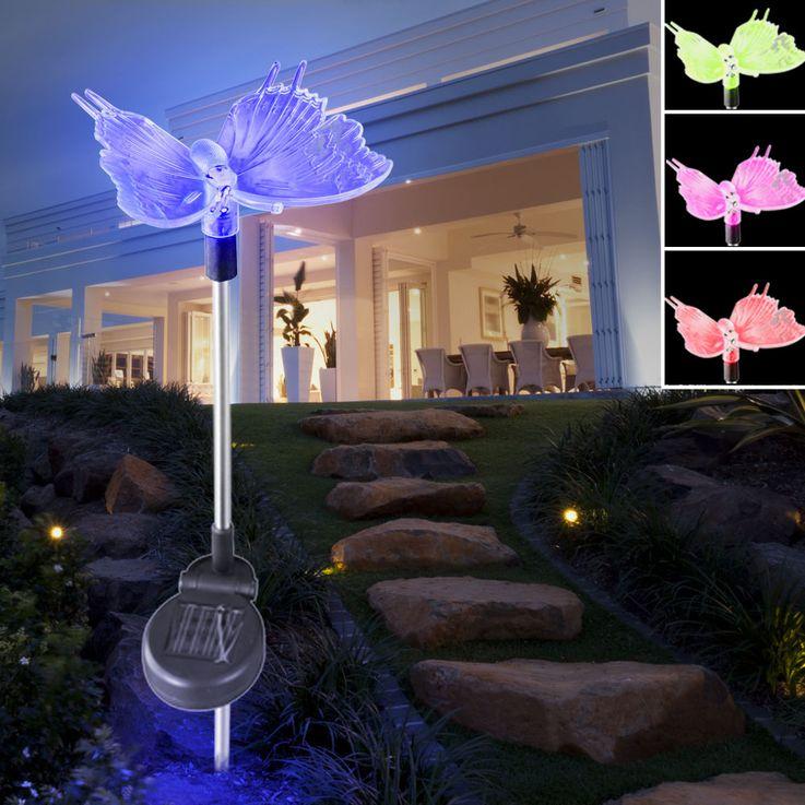Solar Dekospieß Schmetterling Solarleuchte Farbwechsel LED Globo 33943 – Bild 4