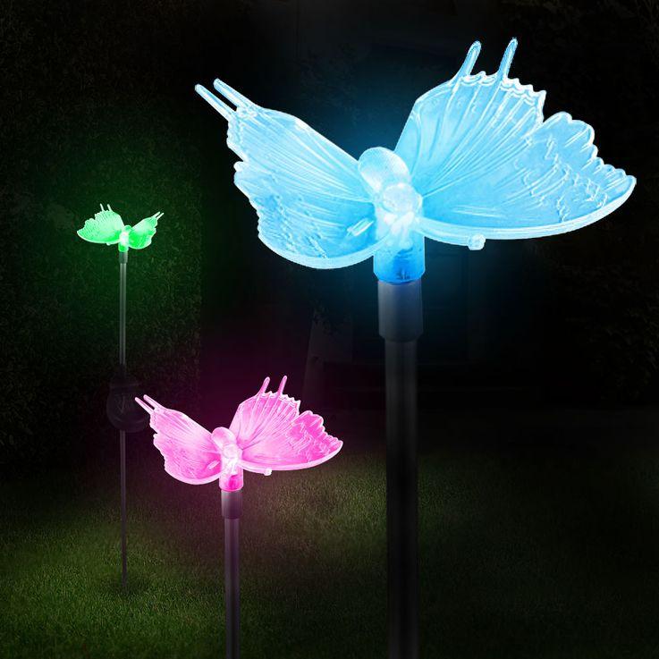 Solar Dekospieß Schmetterling Solarleuchte Farbwechsel LED Globo 33943 – Bild 9