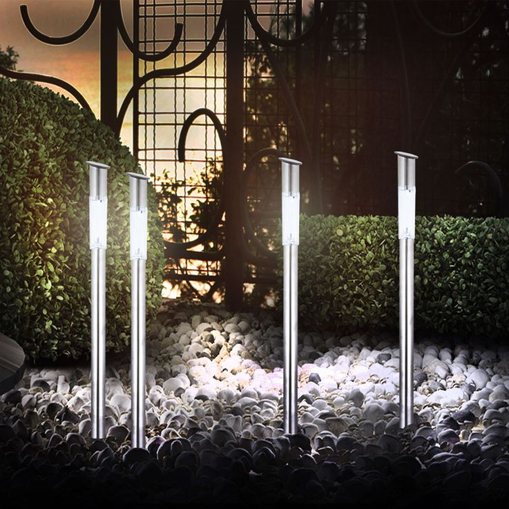 4er Set Außenlampen Garten Solar LED Leuchten Steckleuchten Globo 33961-4 – Bild 7