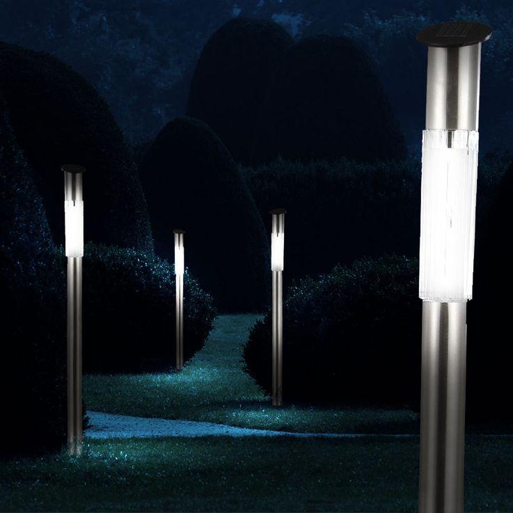 4er Set Außenlampen Garten Solar LED Leuchten Steckleuchten Globo 33961-4 – Bild 10