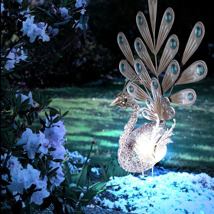 LED Solarleuchte Pfau Außenbeleuchtung Dekoration Beleuchtung Gartenleuchte Lampe Globo 33309 – Bild 2