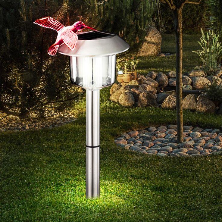 LED solar outdoor light garden lighting lamp stainless steel IP44 hummingbird Globo 33261 – Bild 2