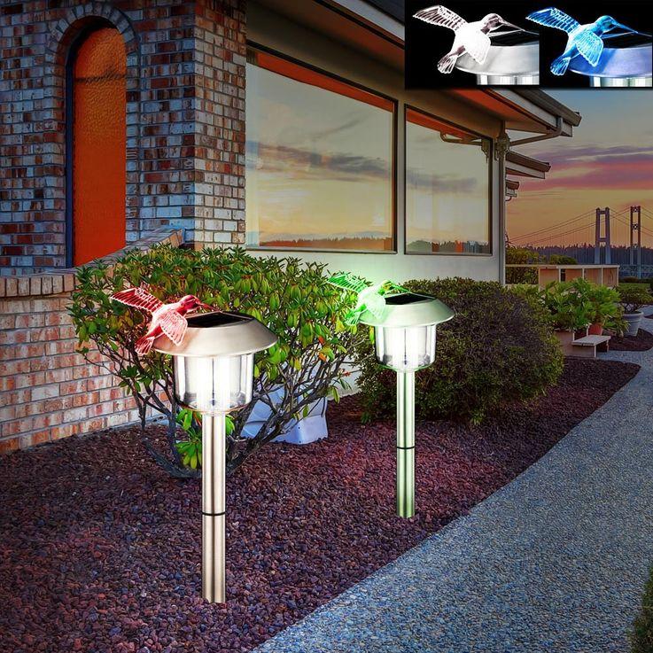 LED solar outdoor light garden lighting lamp stainless steel IP44 hummingbird Globo 33261 – Bild 5