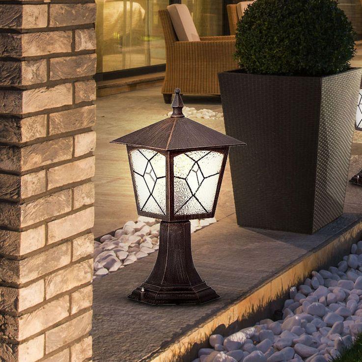 Lampadaire aluminium rusé luminaire sur pied éclairage jardin terrasse lanterne IP44 Globo 3127 – Bild 2