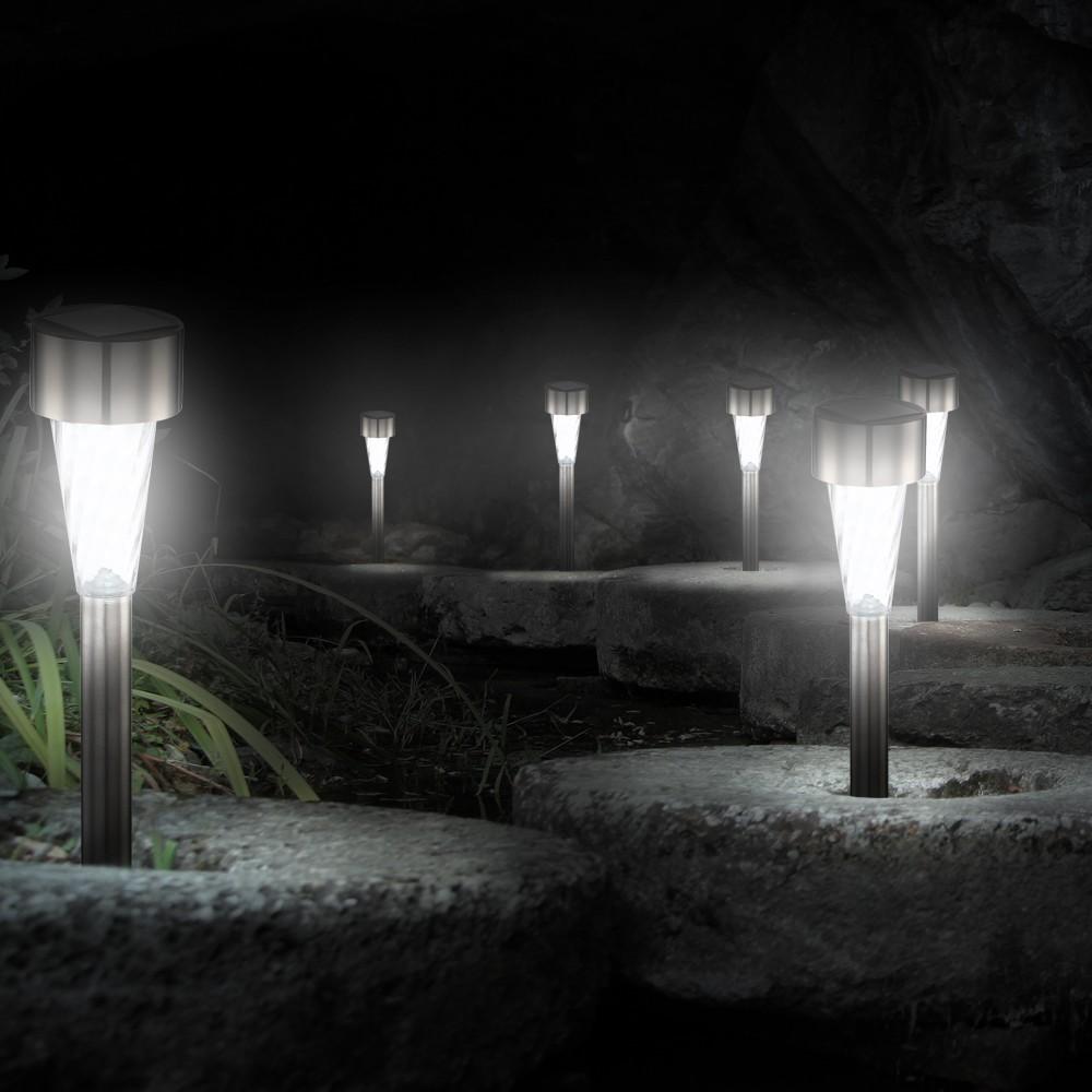 6er set led solarleuchten f r den au enbereich lampen. Black Bedroom Furniture Sets. Home Design Ideas