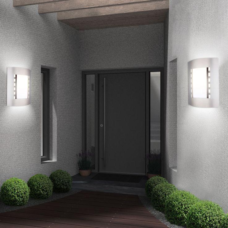 Edelstahl Gartenlampe IP44 Wandleuchte Garage Außenleuchte Globo Orlando 3156 – Bild 3