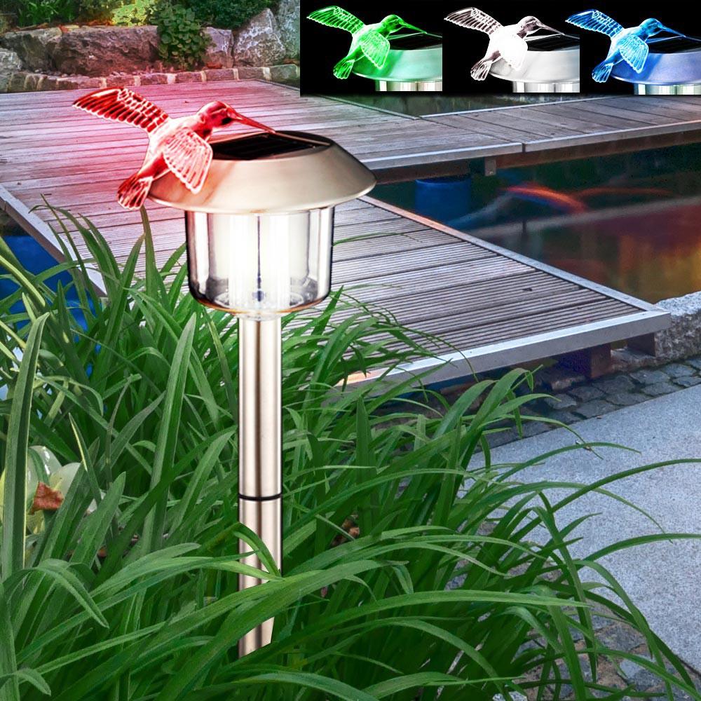 eclairage de jardin solaire Set Á 2 LED éclairage jardin solaire extérieur lampe luminaire lumière inox  IP44 Colibri