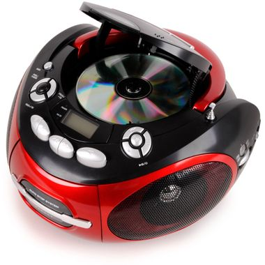 Tragbarer CD-Player Stereoanlage CD-Radio Kassettenradio AUX-IN MP3 Anschluss AEG SR 4353 rot – Bild 3