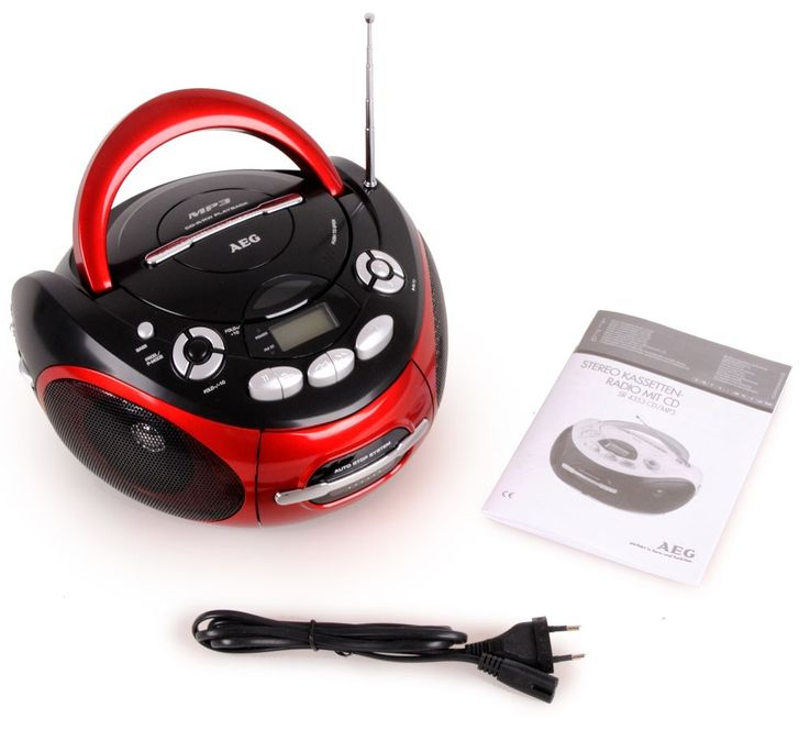 Tragbarer CD-Player Stereoanlage CD-Radio Kassettenradio AUX-IN MP3 Anschluss AEG SR 4353 rot – Bild 8