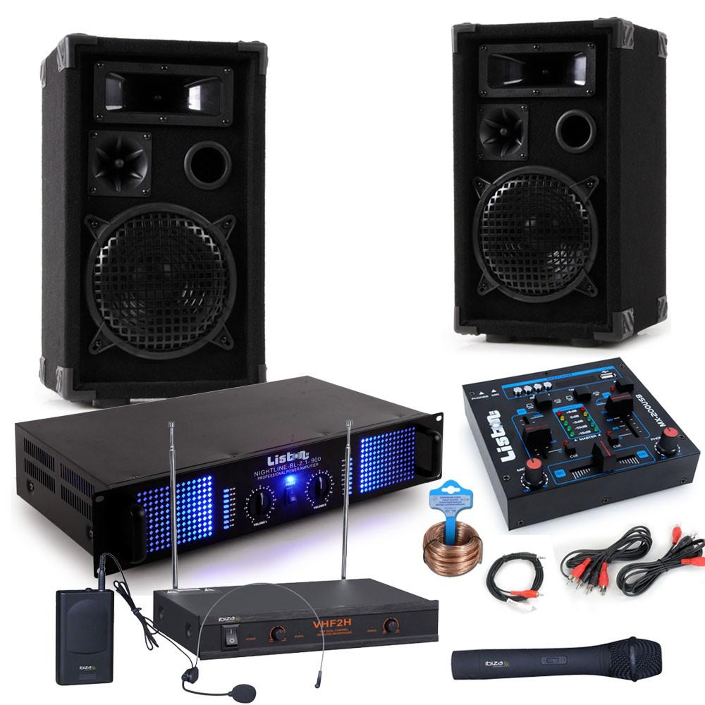 Karaoke Musikanlage mit USB Mixer und Funkmikrofon