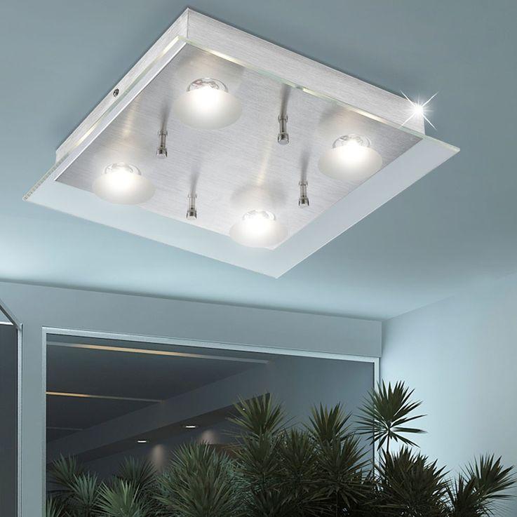 Aluminium Deckenleuchte mit LED und klarer Glasplatte BERTO – Bild 3
