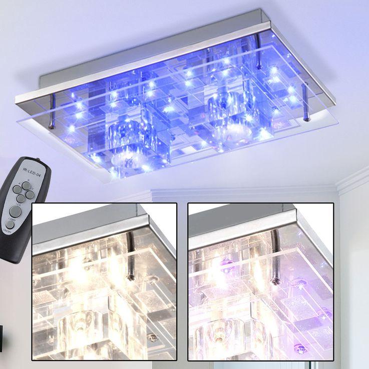 Wand Leuchte Flur Beleuchtung Fernbedienung Decken Lampe Kristall Würfel Beleuchtung Chrom Globo 68238-2 – Bild 2